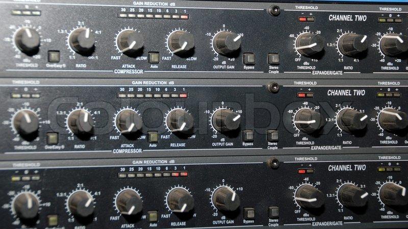 Audio effects processors in a rack. Sound Recording Equipment (Media Equipment). Recording studio, stock photo