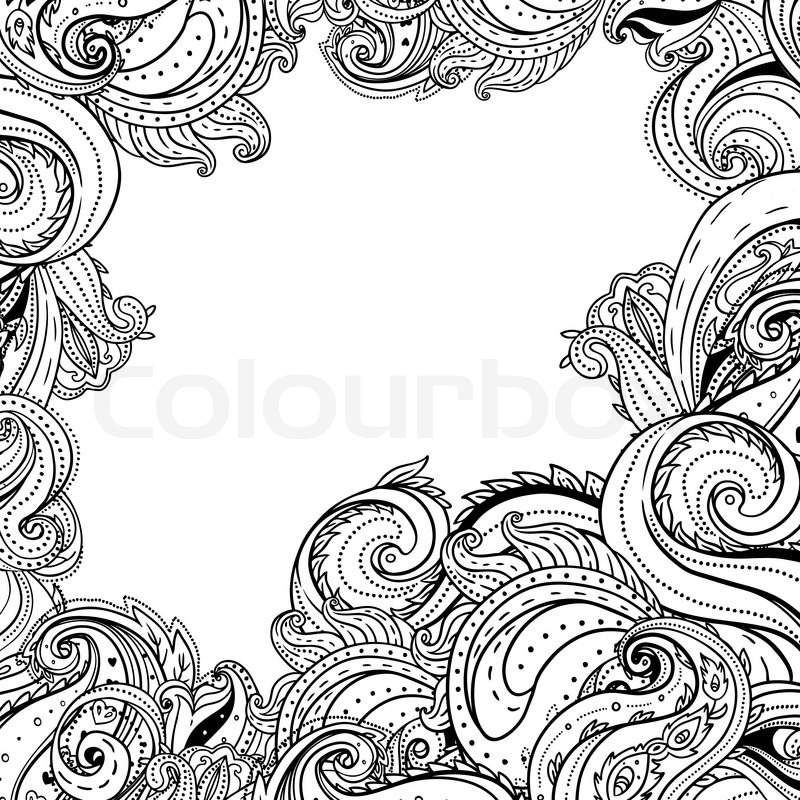 Paisley patterned frame, trendy modern wallpaper or textile ...