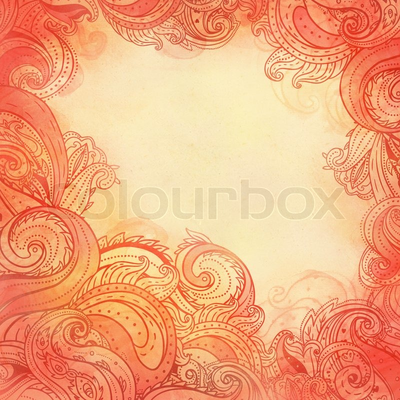 Paisley Patterned Frame Trendy Modern Wallpaper Or Textile Background