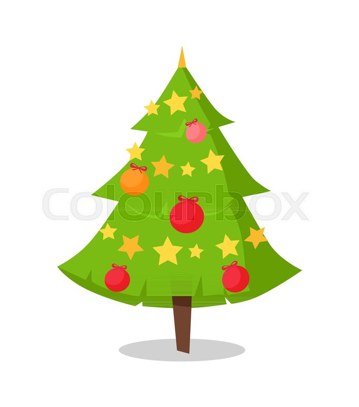 Christmas Tree Icon.Green Bushy Christmas Tree Icon Stock Vector Colourbox