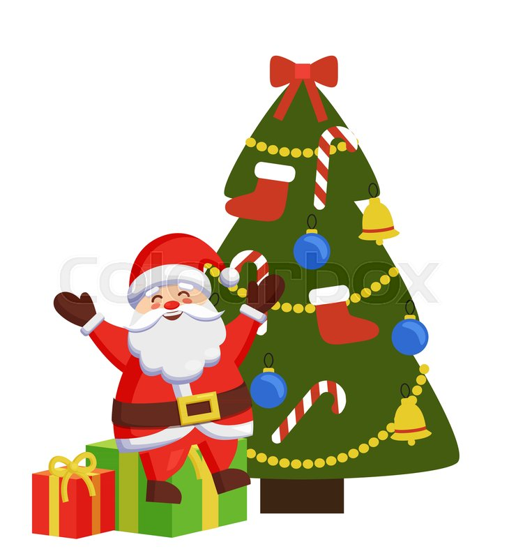 happy santa sitting on gift boxes near decorated christmas tree vector illustration poster with christmas father and winter holiday symbols isolated on