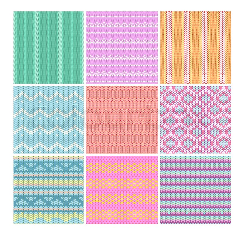 Vector Illustration Set Of Knitting Fabrics Seamless Patterns