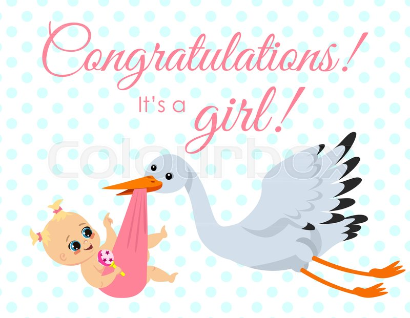 Vector Illustration Of Greeting Card With Stork Carrying Newborn
