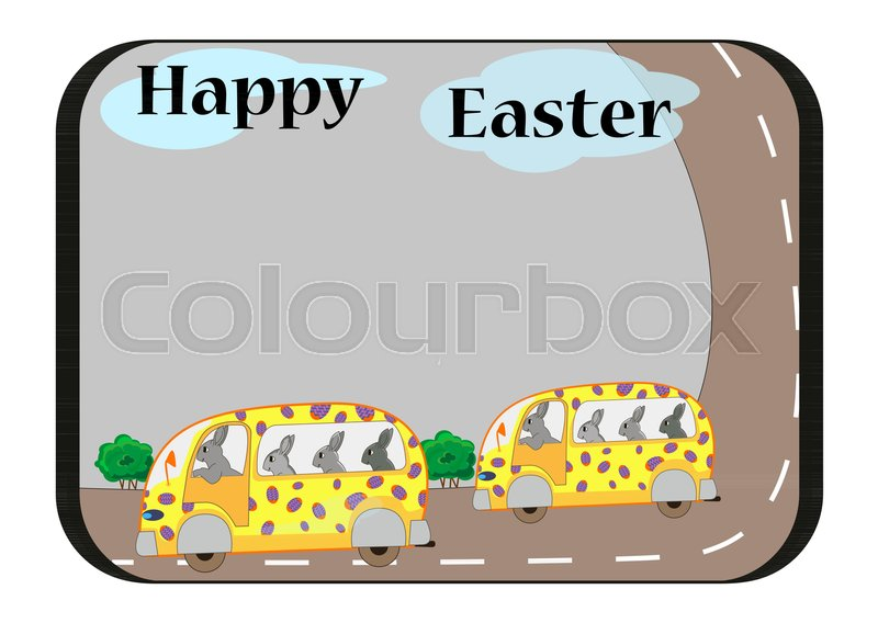 easter card template with bunnies on buses stock vector colourbox
