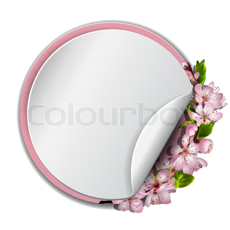 Spring vector card or banner with japanese cherry blossom pink spring vector card or banner with japanese cherry blossom pink sakura flowers wreath round frame with pink border seasonal poster with cherry blooming mightylinksfo
