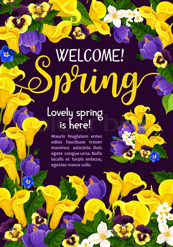 Spring season holiday welcome banner design with garden flower stock vector of spring season holiday welcome banner design with garden flower blossom frame mightylinksfo