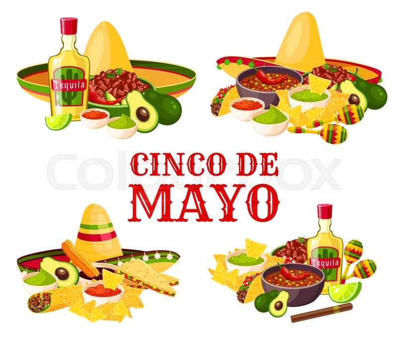 cinco de mayo holiday icon set with fiesta party food and drink