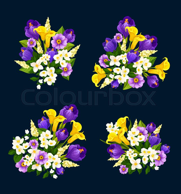 Flower bouquet icon for floral greeting card design. Blooming flower ...