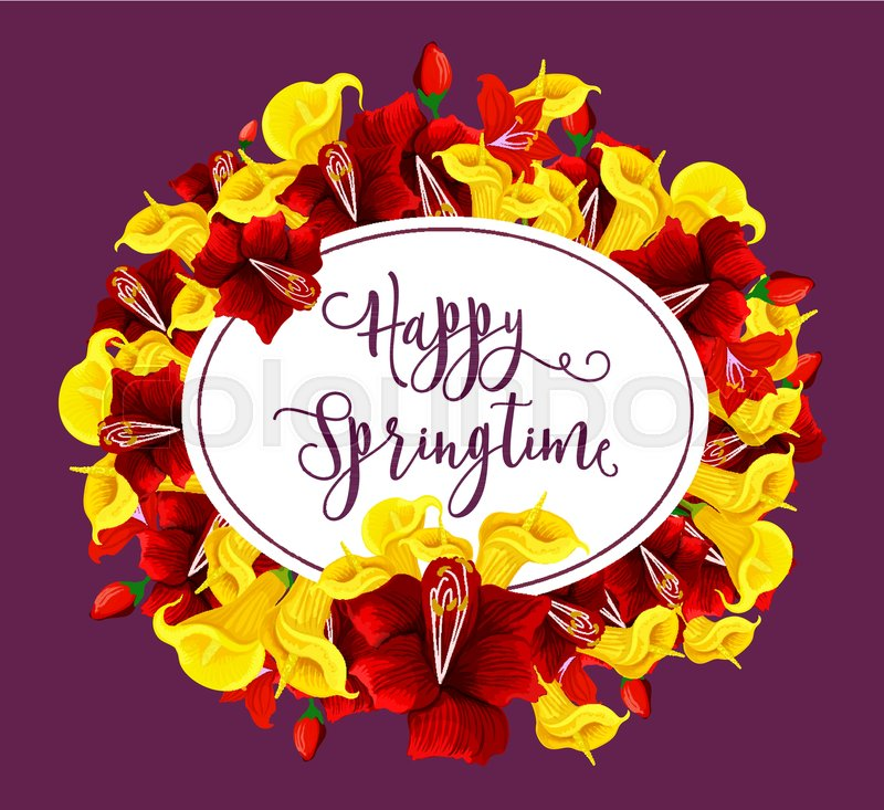 Happy springtime greeting card of blooming spring flowers bouquet happy springtime greeting card of blooming spring flowers bouquet vector springtime wishes and floral bunch for spring seasonal holidays of hibiscus rose m4hsunfo