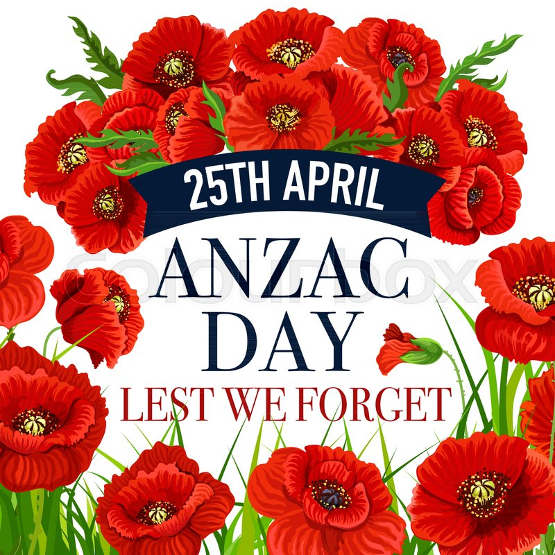 Anzac day greeting card for lest we forget war commemorative day of anzac day greeting card for lest we forget war commemorative day of australia and new zealand soldiers vector red poppy flowers design and blue ribbon for mightylinksfo Gallery
