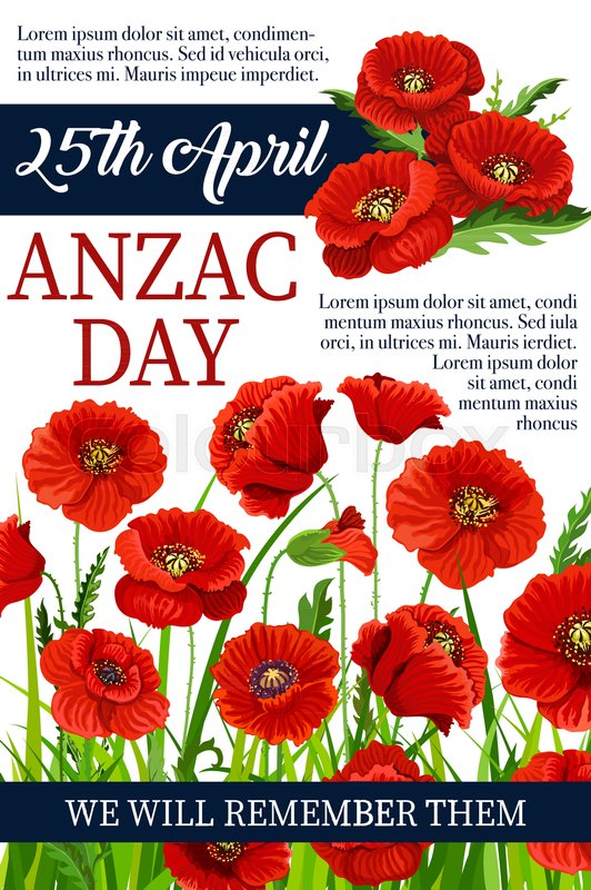 Anzac Day Poppy Flowers Design Poster For Lest We Forget Of