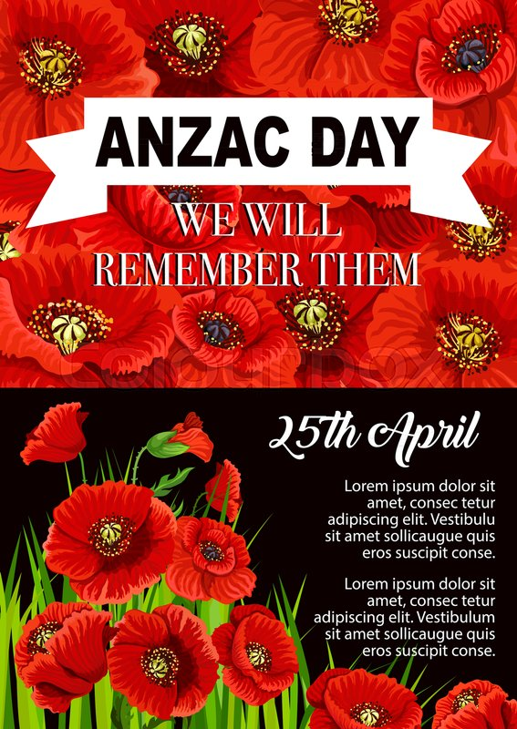Anzac day poppy flower poster for 25 april of australian and new anzac day poppy flower poster for 25 april of australian and new zealand army corps remembrance anniversary world war soldier and veteran memorial card mightylinksfo