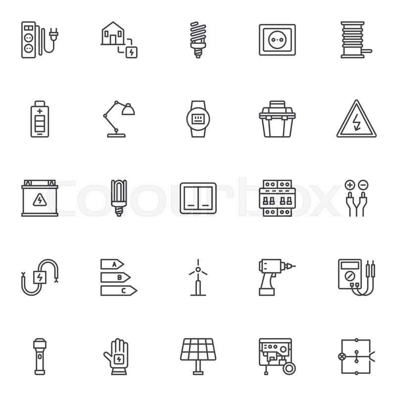 Electrician outline icons set. linear style symbols collection, line ...