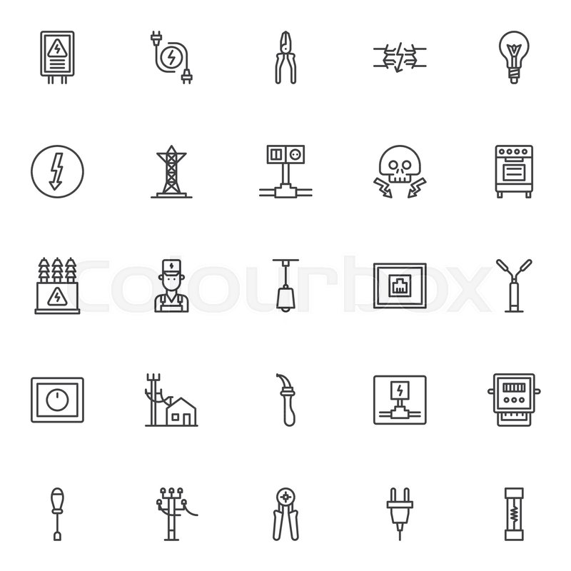 Electrician elements outline icons set. linear style symbols ...