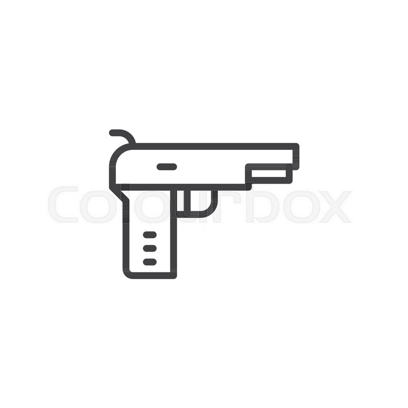 Pistol Gun Outline Icon Linear Style Sign For Mobile Concept And