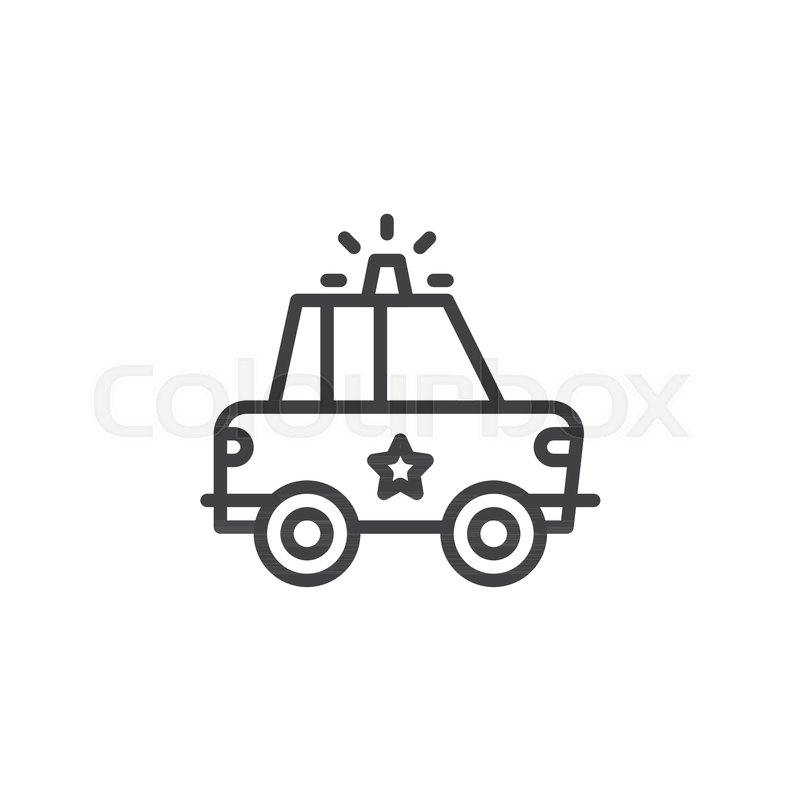 police car outline icon  linear style