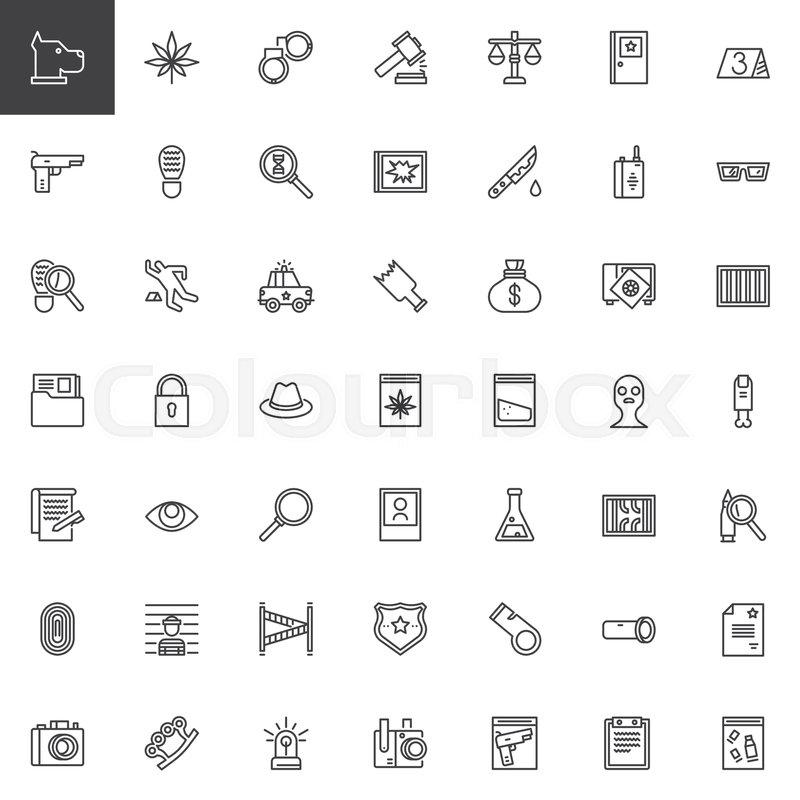 Crime Investigation Outline Icons Set Linear Style Symbols