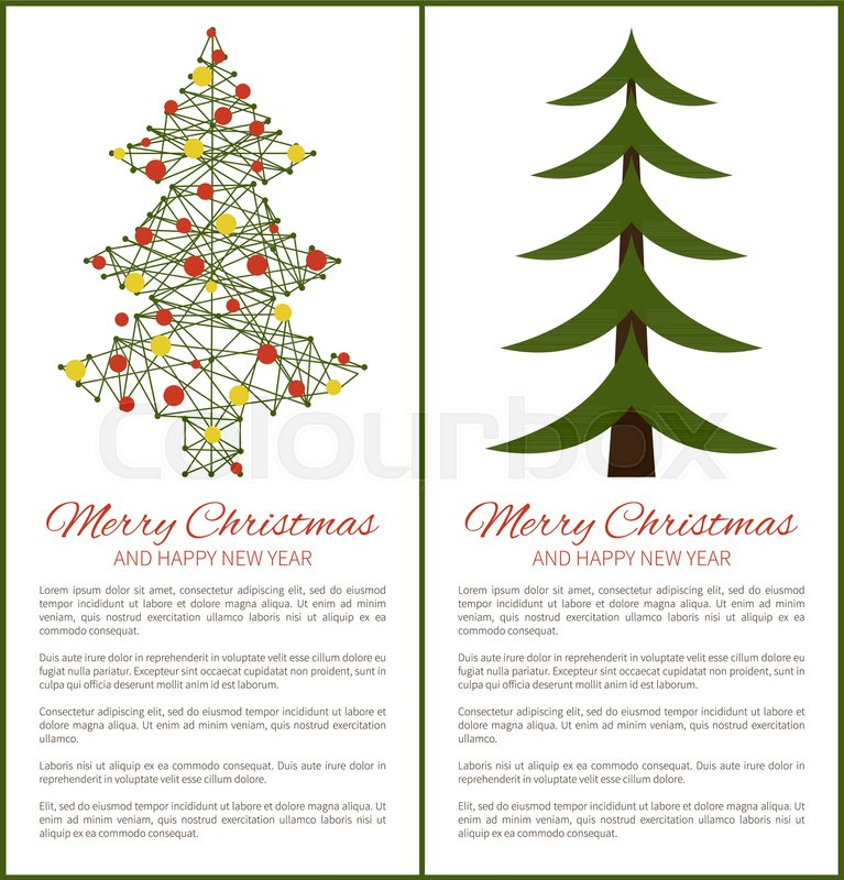 Merry Christmas And Happy New Year Posters Green Tree Carcass And