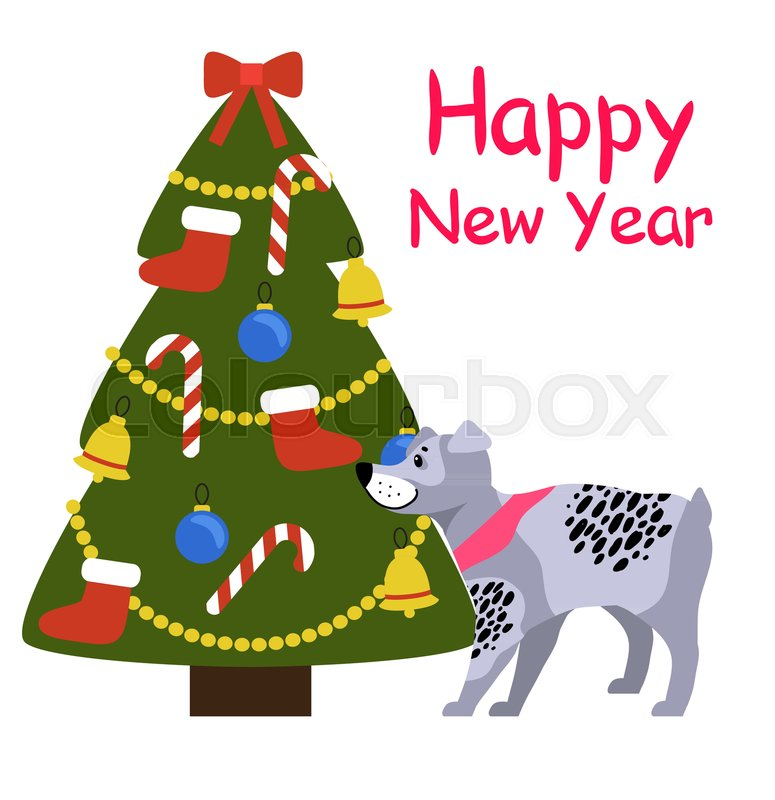 happy new year banner with grey dog in pink collar standing near decorated christmas tree with red socks golden garlands sweet candy sticks and blue