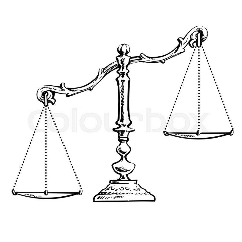 Sketch Of Sunbalanced Cales Scales Of Stock Vector