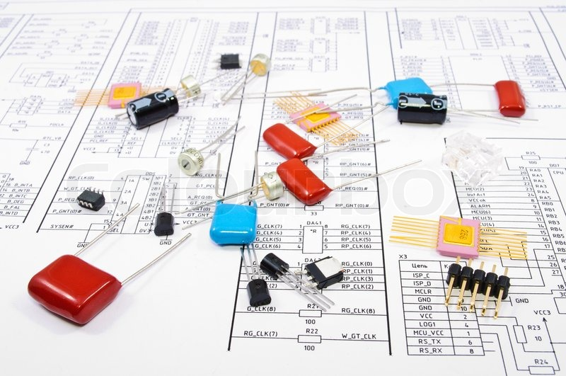 Radio components against electrical circuit | Stock Photo | Colourbox