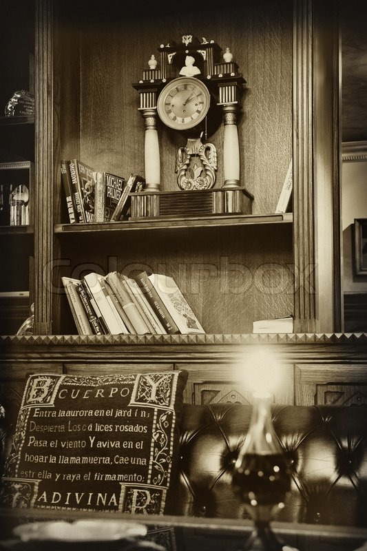 Reading room in old library, stock photo