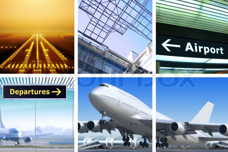 Stock image of 'Collage of air transportation with details and accessories'