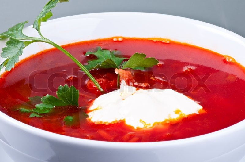 Homemade red-beet soup with parsley and sour cream | Stock Photo ...