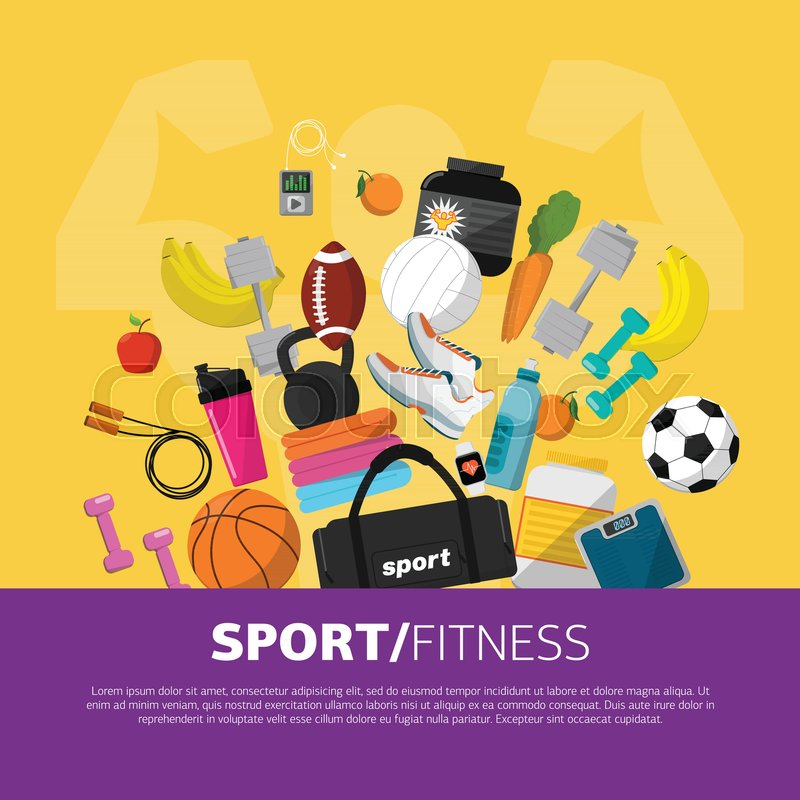 Sports Equipment Background Concept Flat Vector Icon Design
