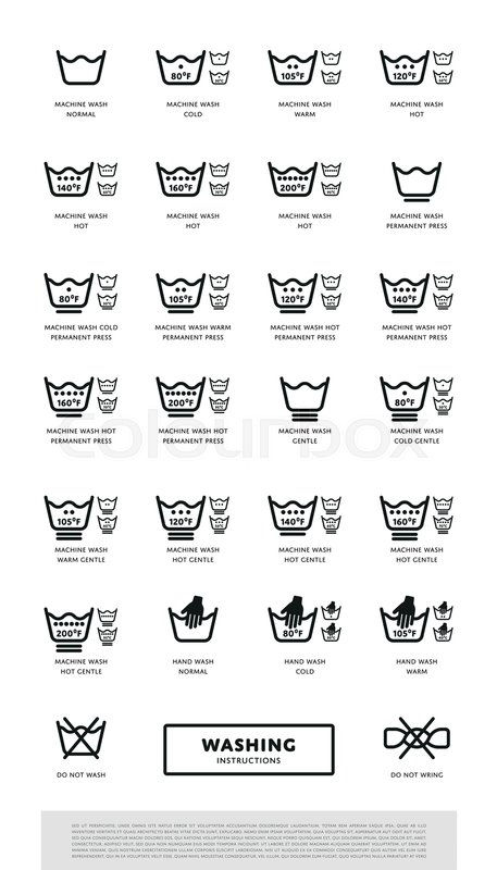 Laundry Washing Symbols Icon Set Vector Illustration Stock Vector