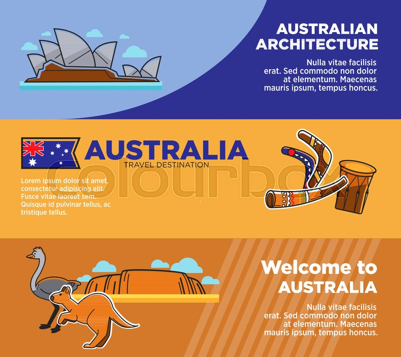 Australia Travel Destinations Promo Posters With Architecture And