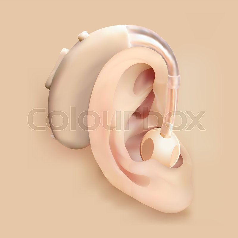 Hearing Aid Behind The Ear Ear And Sound Amplifier Deafness And