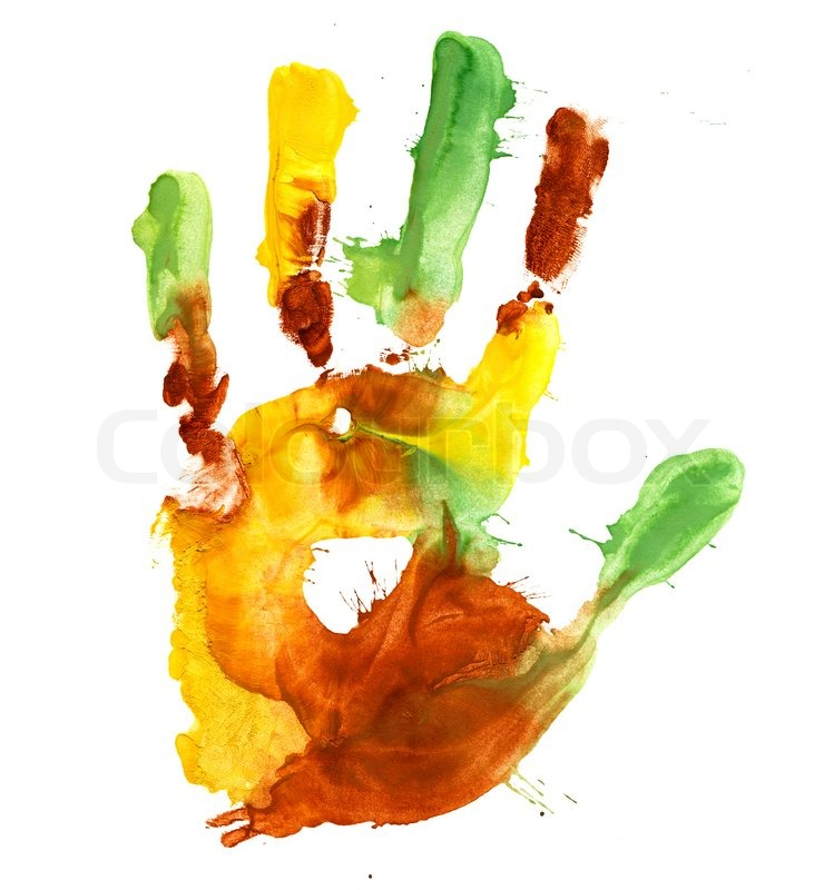 Stock image of 'Close up of colored hand print on white background'