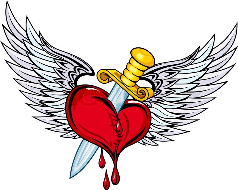 heart with sword and blood for tattoo design stock vector colourbox