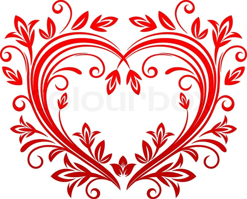 Valentine Heart In Floral Style Stock Vector Colourbox