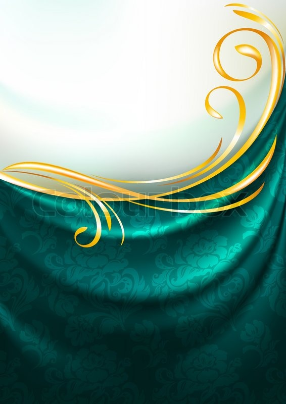 Dark Emerald Fabric Curtain With Ornament Background