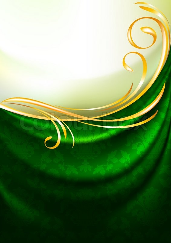 Green Fabric Curtain With Ornament Background Eps10