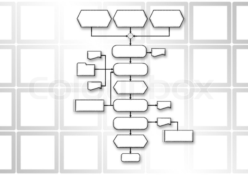 empty flow chart diagram isolated on white