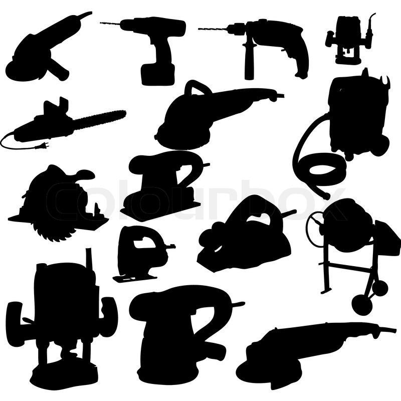 Sammlung von Elektrowerkzeug Vektor Vektor-Silhouette ...