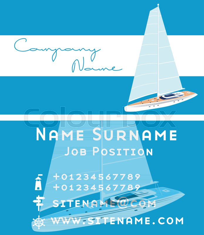 Yacht club business card design with sail boat. Luxury yacht race ...