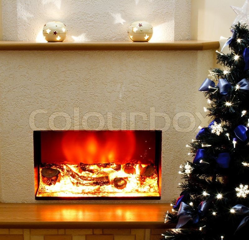 Electric fireplace in the interior of the scenery | Stock Photo ...