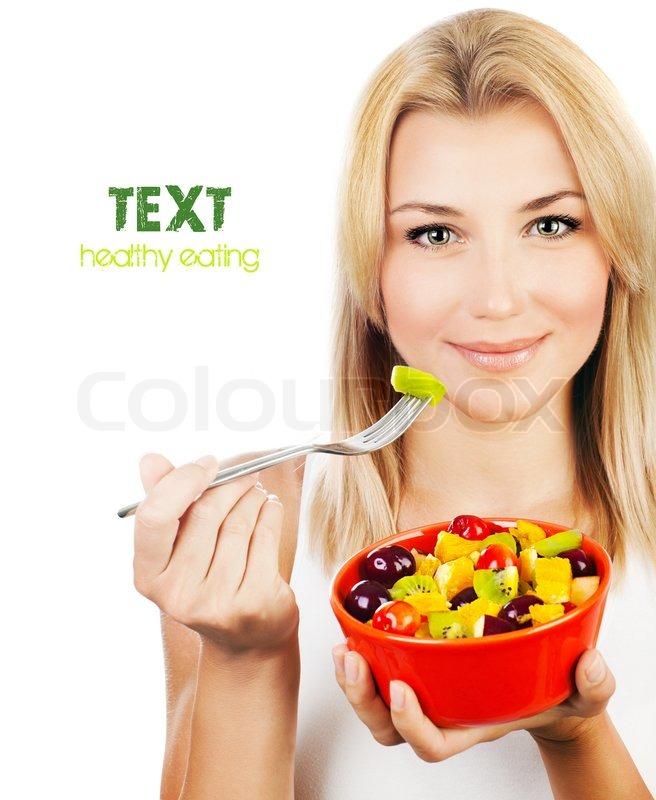 Hubsches Madchen Essen Obstsalat Gesundes Frisches Fruhstuck Diat