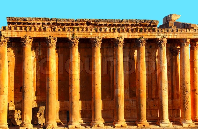 Roman Architecture Columns jupiter's temple ancient roman columns, baalbek, lebanon | stock