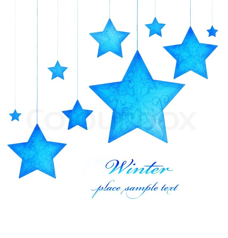 Blue Stars Border Christmas Tree Ornaments And Holiday Decorations Isolated On White Background Greeting Card With Text Space