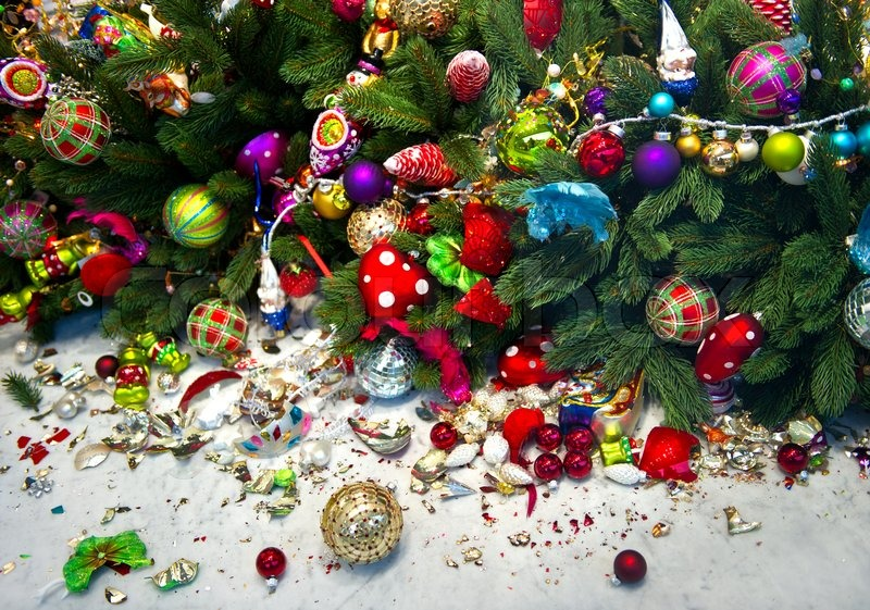 Christmas tree decoration. christmas balls broken | Stock Photo ...