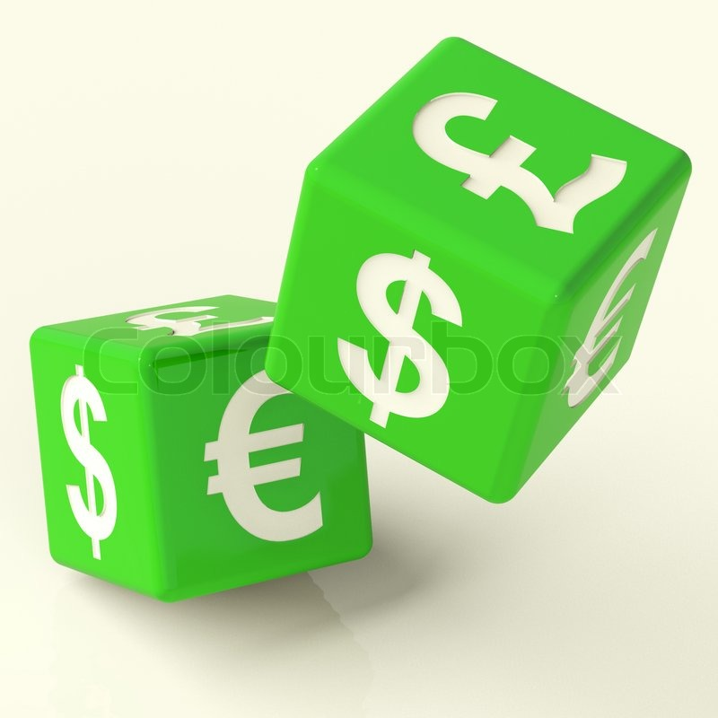 Currency Signs On Dice As A Symbol Of Foreign Exchange Stock Photo
