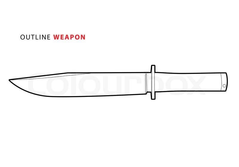 Outline Vector Knife On White Background Stock Vector