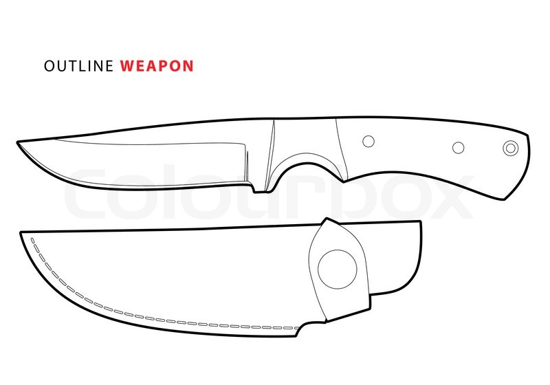 Outline vector knife on white background | Stock Vector ...