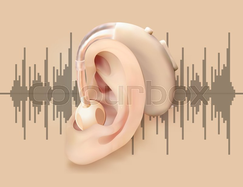 Digital Hearing Aid Behind The Ear Ear And Sound Amplifier On