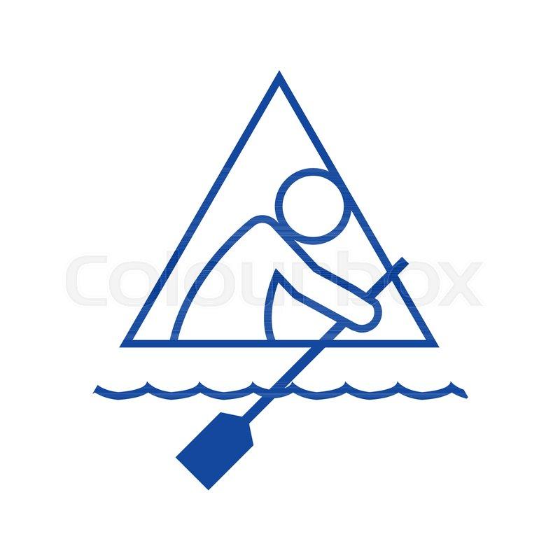 Triangle Shape Canoe Sport Figure Outline Symbol Vector Illustration